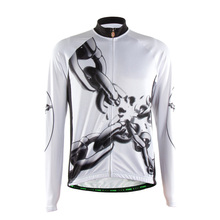 TVSSS Men's Summer Cycling Clothing Black and White Long Sleeve Bike Jersey with Chain Pattern