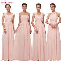 Long Chiffon Blush Pink Bridesmaid Dresses A Line Vestido De Festa De Casamen Formal Party Prom Dresses