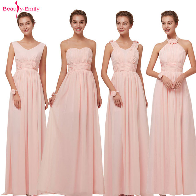 a280c9153c US $27.16 45% OFF Long Chiffon Blush Pink Bridesmaid Dresses A Line Vestido  De Festa De Casamen Formal Party Prom Dresses-in Bridesmaid Dresses from ...