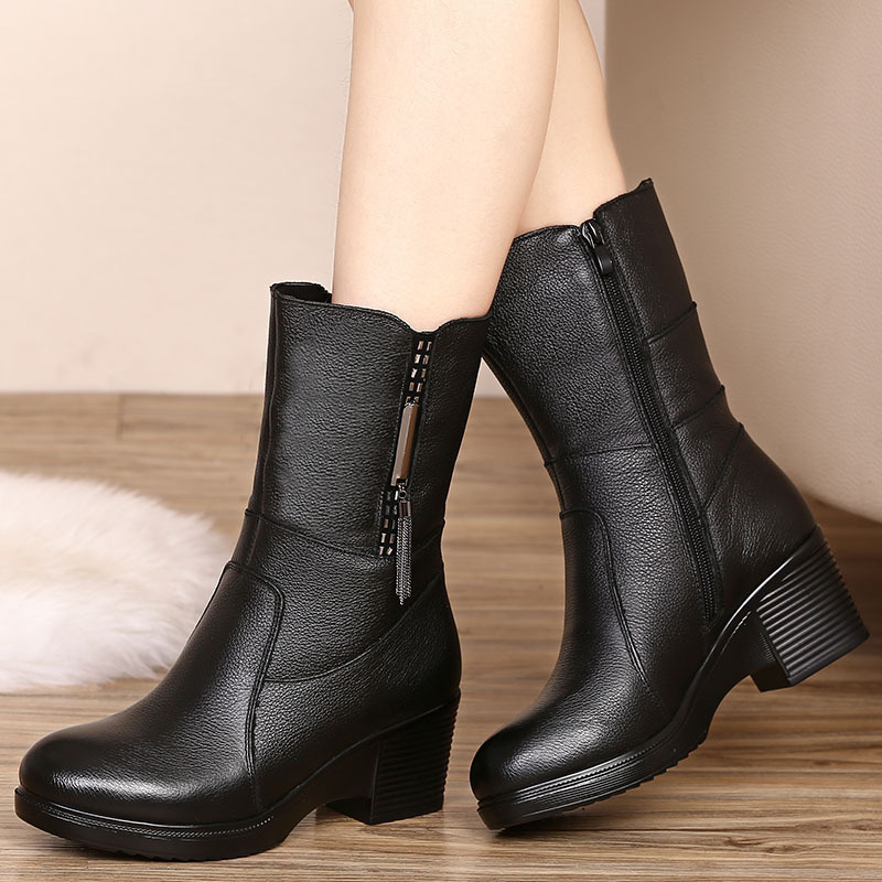 Printemps Solide mollet Peluche Femme Dames Véritable Épais D'hiver Bottes Bout Noir Rond Matures Cuir Mi Chaussures Zip 2019 Talons Fsj01 En Fsj wq6FBf