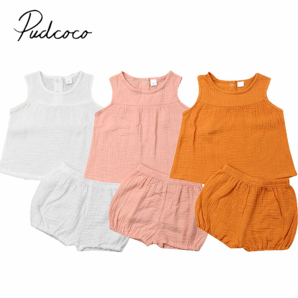 2019 Children Summer Clothing Toddler Infant Baby Girl Clothes Solid 2Pcs Outfits Set Dress Sleeveless Tops +PP Shorts Pants