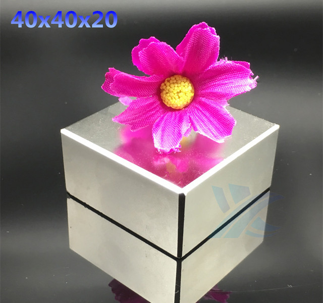 Free shipping 1pcs  40*40*20 Strong Rare Earth Neodymium Magnets 40X40X20 mm Block Permanent Magnet 40x40x20mm metal