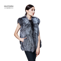 Huanhou queen real nature silver fox fur vest with full pelt for women,fashion slim silver fox fur vest.
