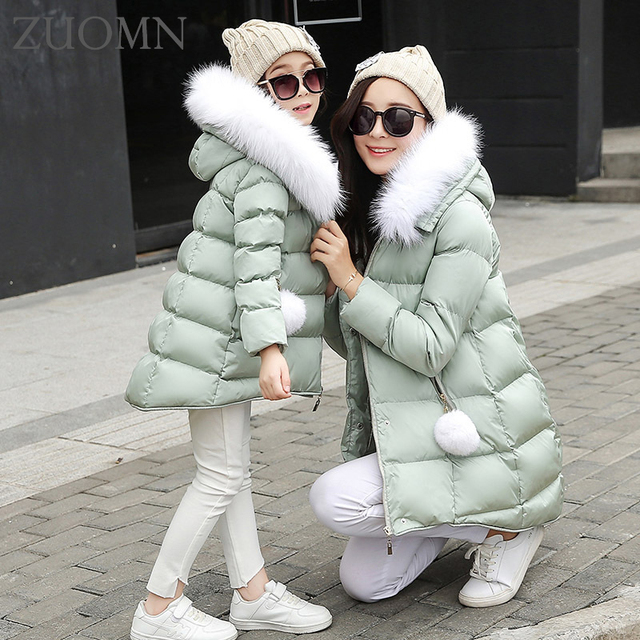Mother daughter winter coat fashion star pattern coat jacket mother daughter clothes high quality family look matching YL368