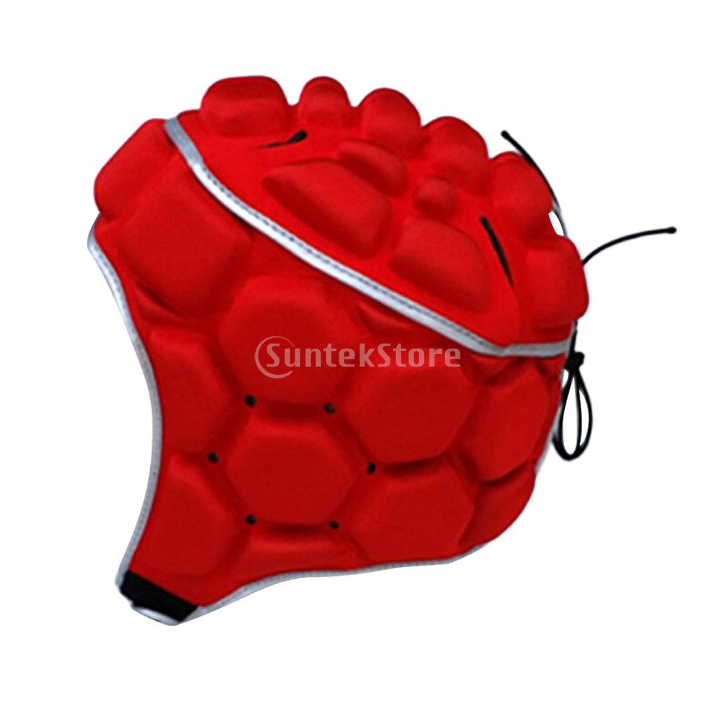 Adult Mens Professional Adjustable EVA Padded Soccer Football Helmet Rugby Goalkeeper Head Guard Protector Hat Gear Equipment