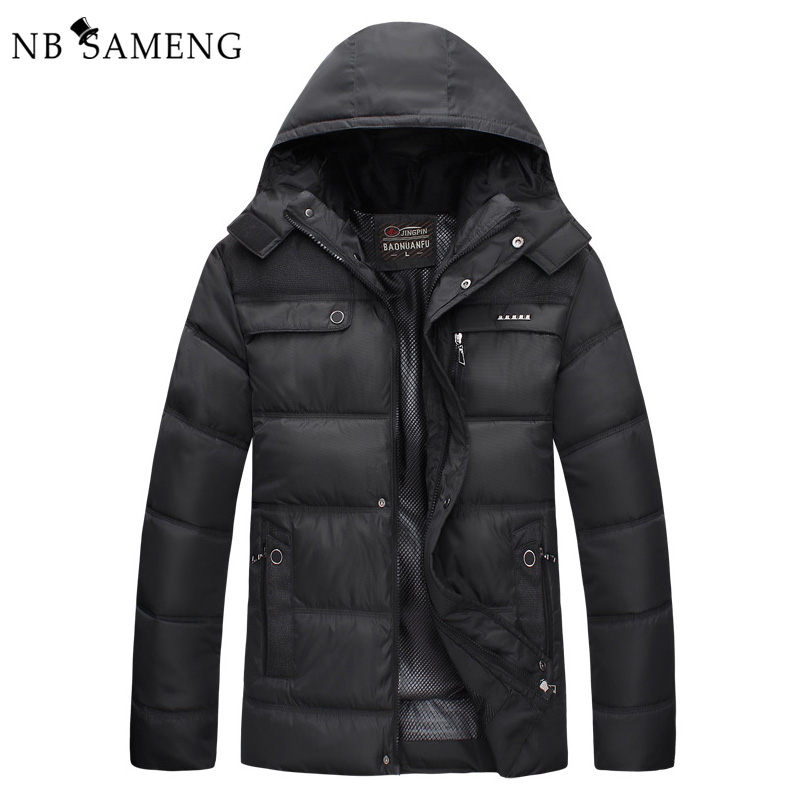 New 2017 Men Winter Black Jacket Parka Warm Coat With Hood Mens Cotton Padded Jackets  Coats Jaqueta Masculina Plus Size NSWT015