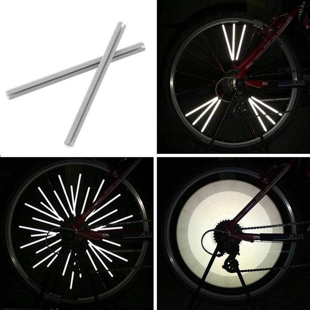 12pcs/set Bicycle Wheel Spoke Reflector Reflective Mount Clip Wheel Rim Spoke Bike Mount Strip Reflector Warning Light Tube
