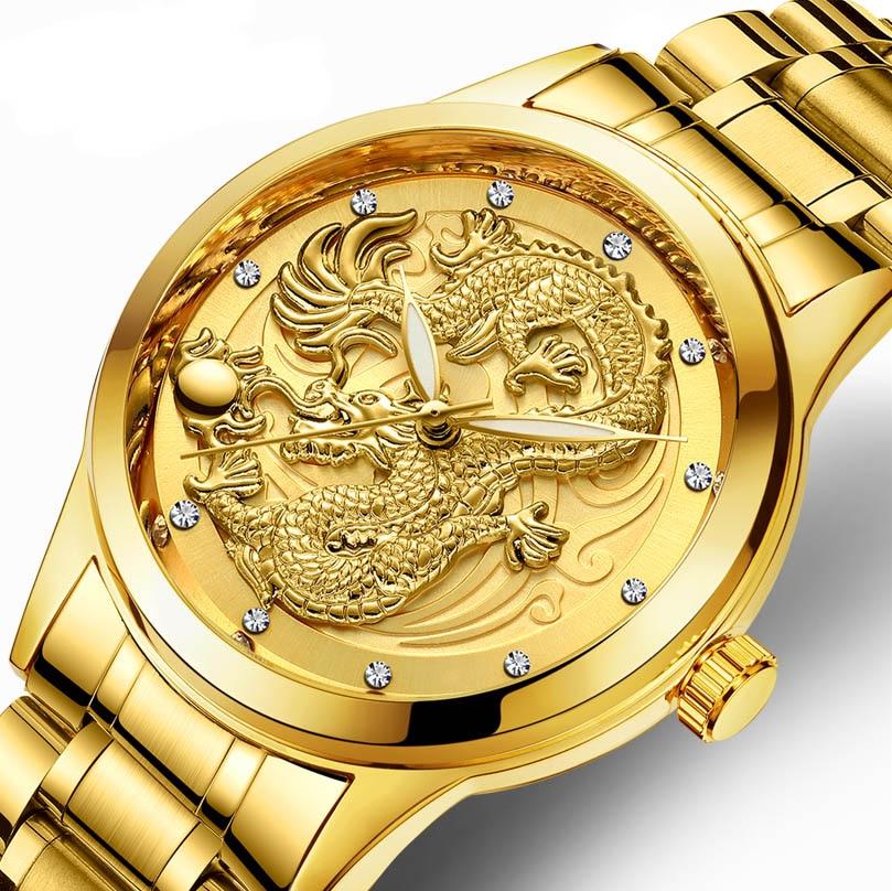 FNGEEN New watch male quartz dragon pattern luminous gold color ultra-thin steel belt