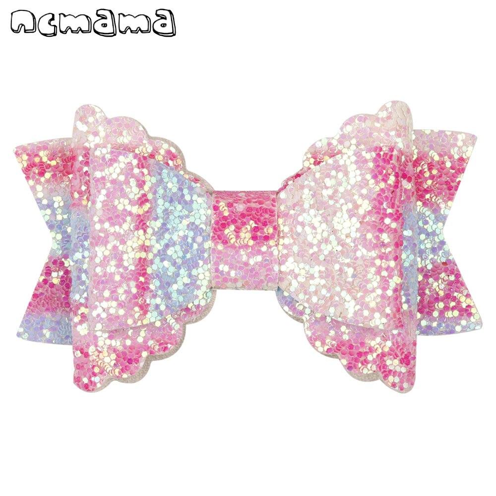 3'' Princess Sequin Hair Clips For Girls Ripple Ribbon Hairpins Swallow Tail Barrettes Headwear Party Hair Accessories