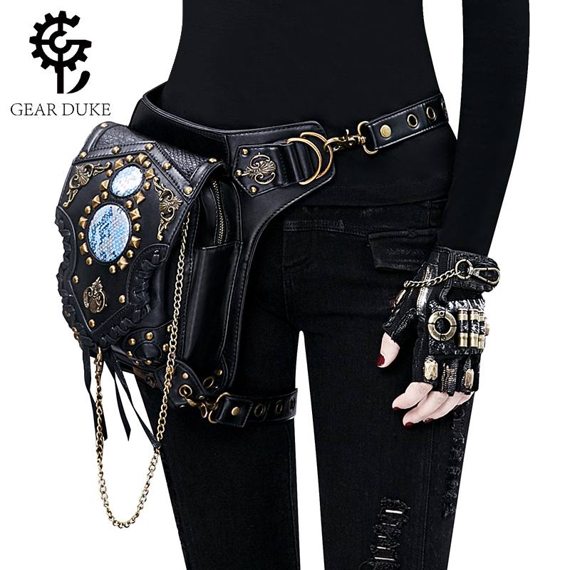 Gear Duke Womens Steampunk Bags Gothic Messenger Handbag Shoulder Bag Vintage Fashion Retro Rock Waist Pack