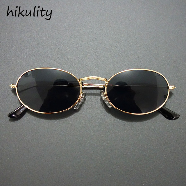00c85479ab 84112 Small Oval 90s Narrow Sunglasses Women 90 s Teenage Fashion Vintage  Round Sun Glasses for Women Gold Black Sunglasses Men