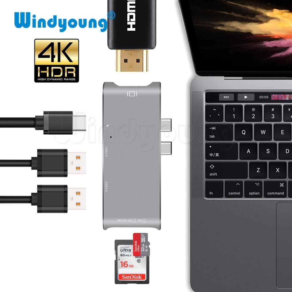 USB C HUB HDMI for MacBook Pro Hub Adapter thunderbolt 3 USB C HDMI USB 3.0 SD/TF Card Reader Type C Power Delivery Type C Hub