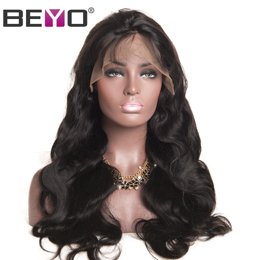 Beyo 360 Lace Frontal Wig 150% Density Pre Plucked Brazilian Body Wave Lace Wigs For Black Women Non Remy Human Hair Wigs