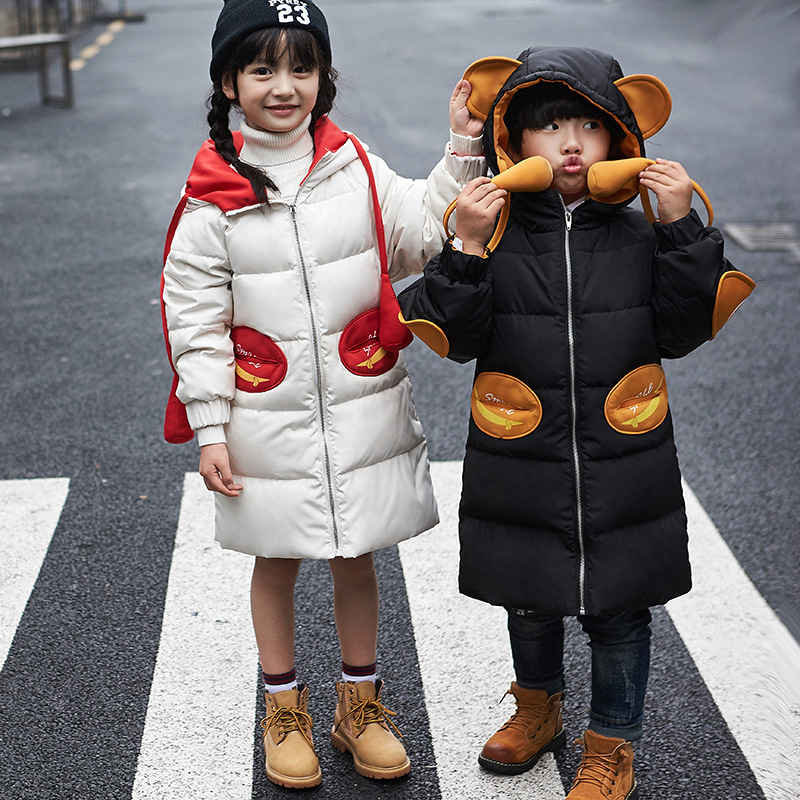 girls winter coats 2017 new kids winter jackets long section warm kids outwear white duck down hooded jackets for boys girls new winter baby girls clothes white duck down parka warm goose down jackets for kid warm long coats big fur hooded for children
