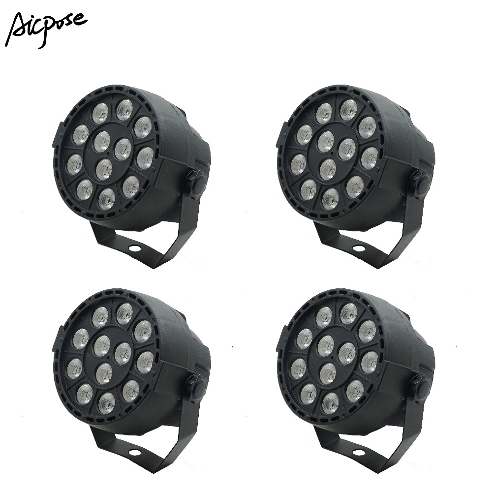 4Pcs/lots Mini <font><b>LED</b></font> <font><b>Par</b></font> 12x3W <font><b>RGB</b></font> 3 in 1 Stage Light <font><b>12</b></font>*3W <font><b>Par</b></font> <font><b>Led</b></font> Light With DMX512 Disco DJ Wedding Staining Stage Lighting image