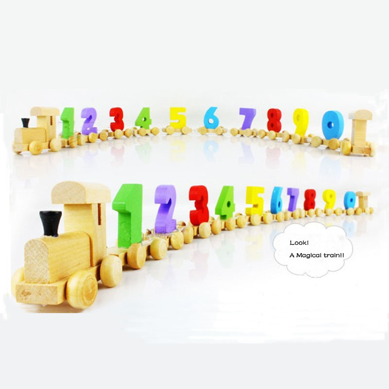 XB Children Toddlers Wooden Digital Small Train 0-9 Number 12 Segment Railway Model Wood Kids Educational Toys Gift -40