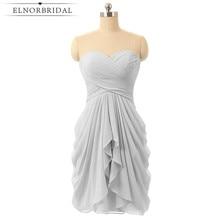Siva Kratka djeveruša haljine Jeftini 2017 Sweetheart vjenčanja Gost haljina objesiti šifon Mini Maid Honor Gowns Robe Longue