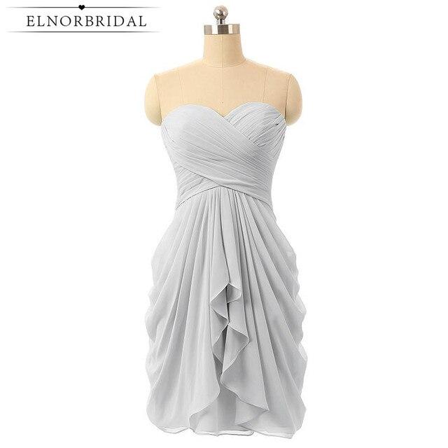 Grey Short Bridesmaid Dresses 2017 Sweetheart Wedding Guest Dress Pleat Chiffon Mini Maid Of Honor