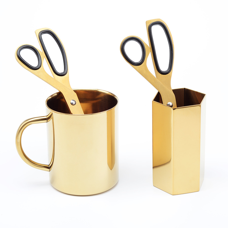 все цены на TUNACOCO MUJI Style Stainless Steel Scissors Gold Plated Art Scissors Hand Paper Cutting Stationery Students Office qt1710028 онлайн