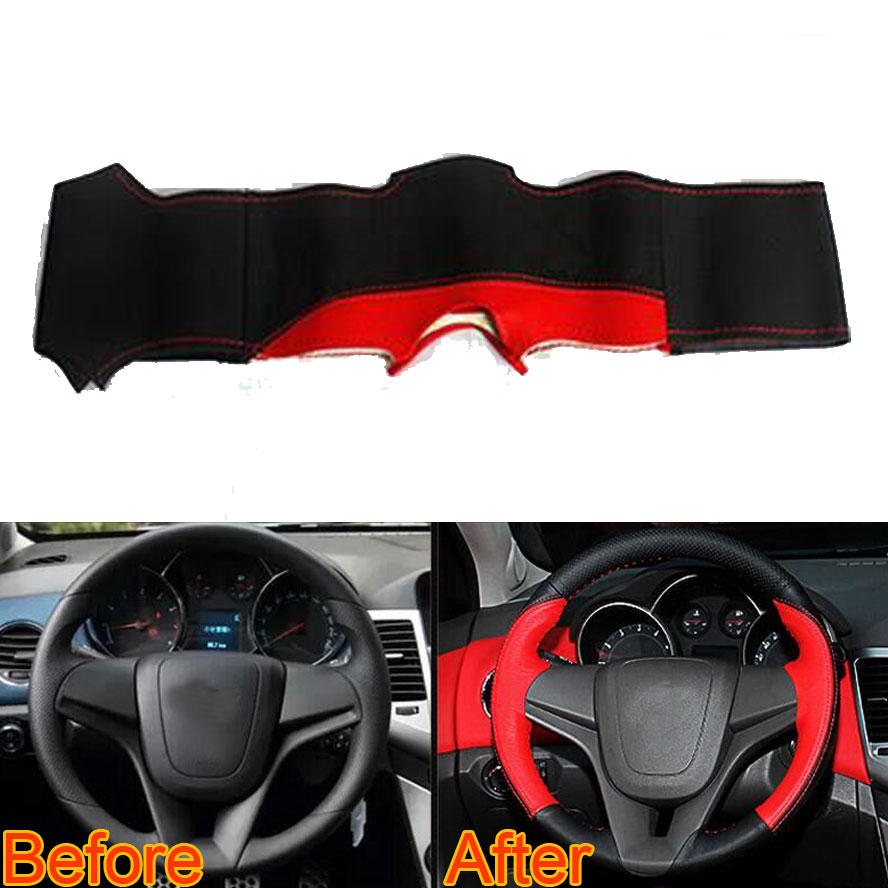 Red DIY Leather Car Steering Wheel Wrap Cover Needle Thread For Cruze 2010 2011 2012 2013 2014 2015 Car-covers