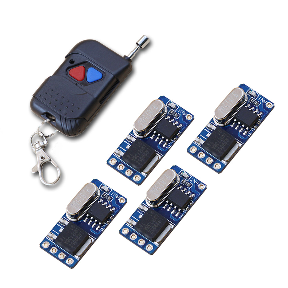 цена Wireless Micro Remote Control Switch Mini Receiver DC3.5V 4.5V 5V 6V 7.4V 8.4V 9V 12V Wide Voltage Receiver Transmitter 315/433