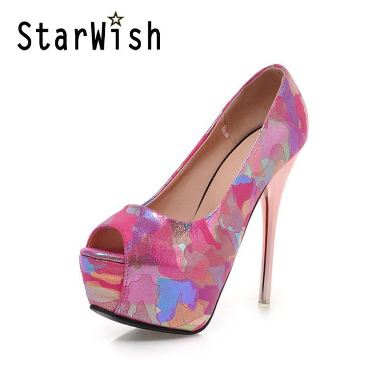 ФОТО 2017 Print Ladies Pumps Slip On Platform High Heels Sexy Peep Toe Wedding Shoes Woman Summer Plus Size 32-44 Shallow Sandals C51
