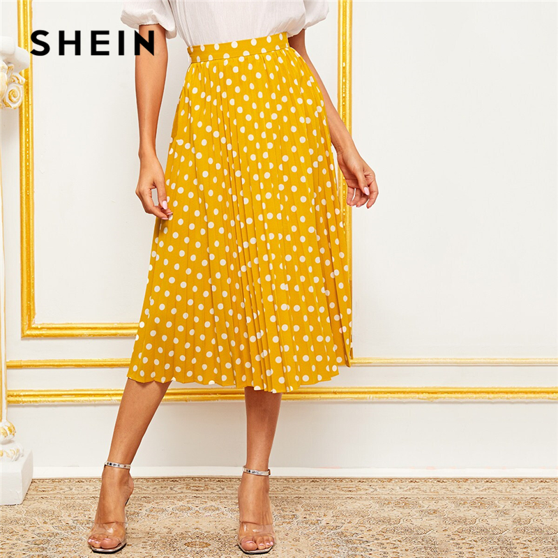 SHEIN Yellow Polka Dot Wide Waistband Pleated Midi Skirt Summer Autumn Skirts Womens Elegant A Line Lady High Waist Boho Skirt