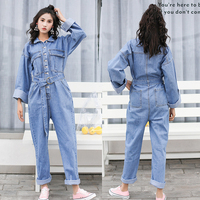 Autumn New Long Sleeve Jumpsuit Denim Woman Overalls Loose Tutine Estive Donna Fashion Overalls Jeans For Women