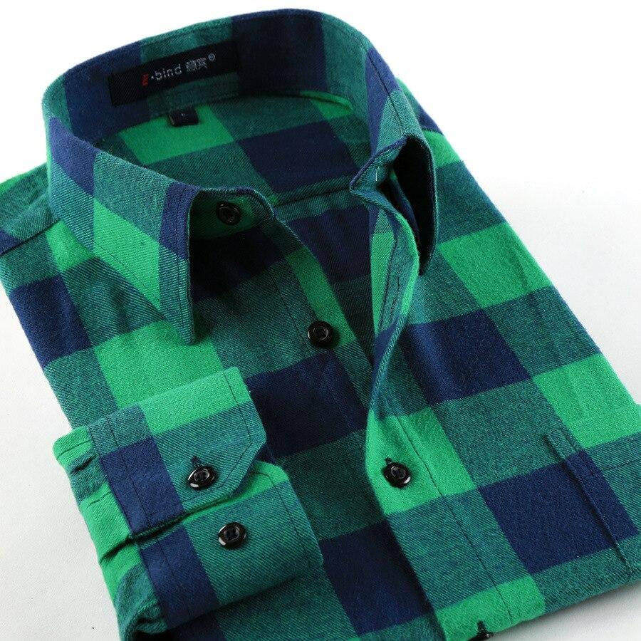 Shirt design green - Men S 100 Cotton Plaid Shirts Men Long Sleeve Casual Slim Fit Stylish Dress Shirt Design Custom Button Checked Shirt For Men
