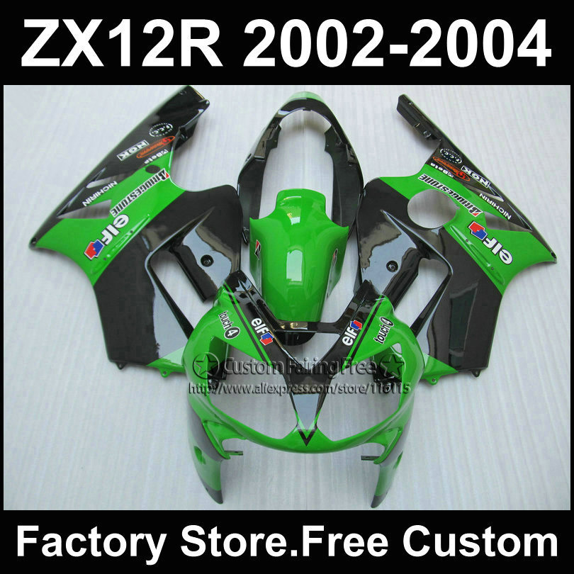 цена на Custom Green EIF ABS fairing kits for Kawasaki fairings kit 2002 2003 2004 ZX12R Ninja ZX 12R 02 03 04 motorcycles body parts