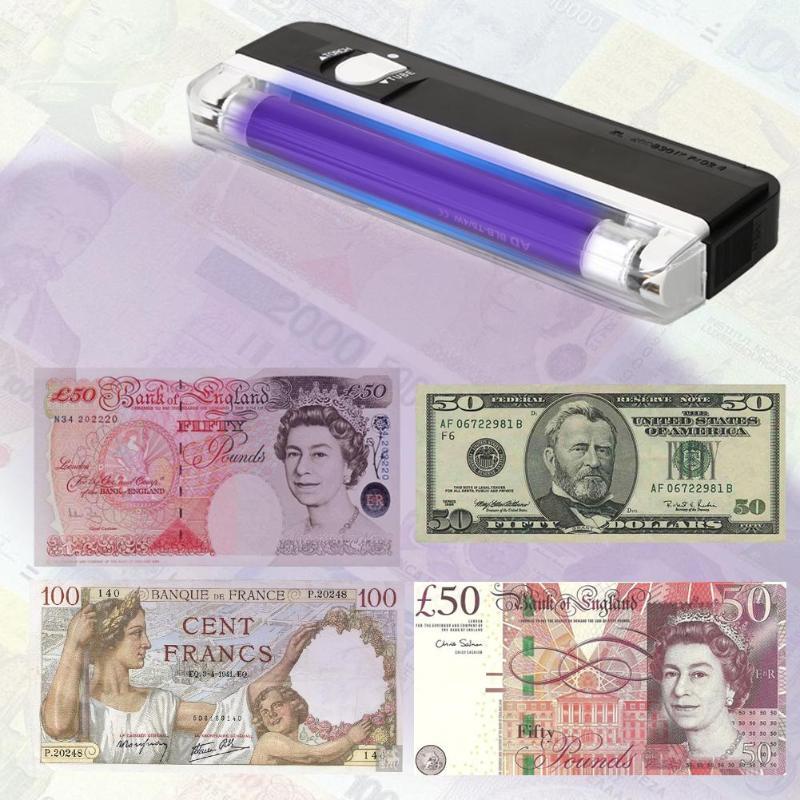 Contador de dinheiro bilhete detector de dinheiro uv lâmpada luz tocha led lanterna moeda contador de notas dinheiro falso verificação segurança