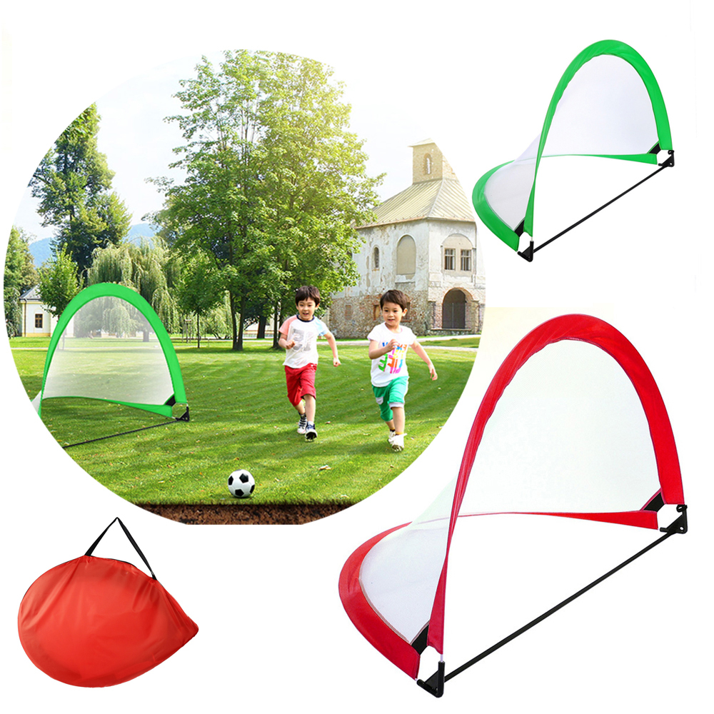 2pcs Portable Soccer Net Goal Pop Up Kids Footable Training Gate With Carry Bag Durable Children