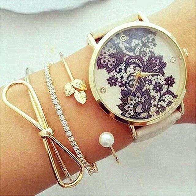 KISSWIFE 3 unids/set Classic Bowknot hoja perla cristal apertura brazalete mujer moda pulsera de oro Set encanto fiesta joyería