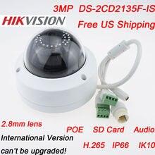 IP Cámara de Vigilancia de Vídeo CCTV de la Bóveda Al Aire Libre DS-2CD2135F-IS 2.8/4 MM 1080 P 3MP Impermeable Infrarroja Red Soporte H.265 POE