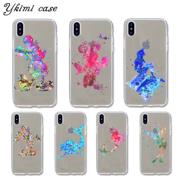 buy popular d35cf 97799 US $1.49 20% OFF|For iphone X case cover fashion Mickey Minnie Mermaid  Graffiti Design ultra thin transparent soft TPU silicone phone capa-in  Fitted ...