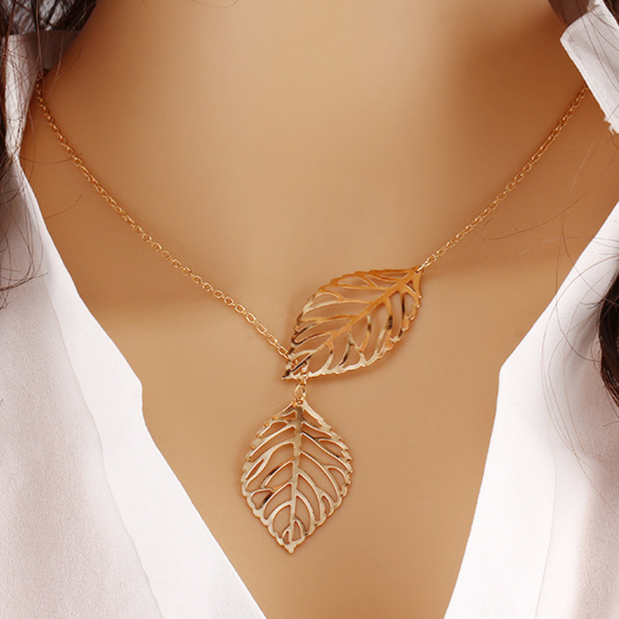 Simple Fashion Alloy Necklace High Quality Tree Leaf Charm Pendant Chokers Neclaces For Women Girl Fashion Jewelry Gift