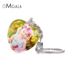 Crystal Glass Color Print Personalized Photos Custom Keychains Baby Family Lover Photo Key Rings-Personalize It with your