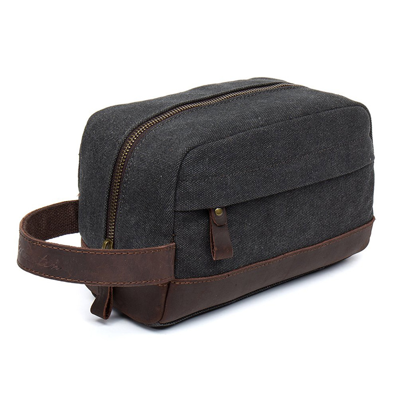 74e959f1745f Toiletry Beauty Case Bag Leather Trim Canvas Shaving Dopp Case Neceser  Travel Cosmetic Makeup Bag Organizer Pouch-in Cosmetic Bags   Cases from  Luggage ...