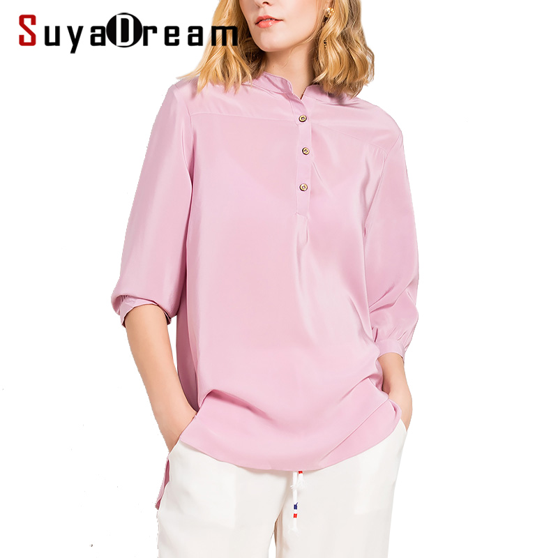 REAL SILK Women T SHIRT 3 4 sleeve O neck Top shirt 19MM 100 Natural silk