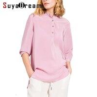 REAL SILK Women T SHIRT 3/4 sleeve O neck Top shirt 19MM 100% Natural silk casual Top Blusas femininas 2017 New Navy Gray White