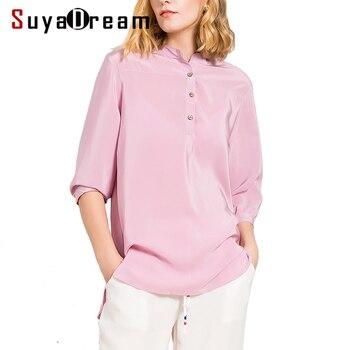 Seda real mujeres camiseta 3/4 manga o cuello Top camisa 19mm 100% natural de seda casual blusas femininas 2017 nueva Navy gris blanco