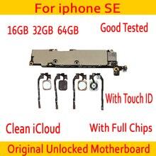 Завода разблокирована для iphone SE материнская плата с Touch ID/без Touch ID, оригинальный Для iphone 5SE SE материнскую плату