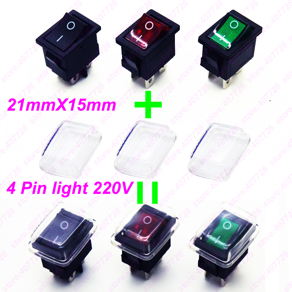 3PCS 4Pin Rocker Switch Power Start Switch With Red/Green Light 6A 250V(220V) AC/10A 125V ON-OFF Size 21mm X 15mm Seasaw Button 2pcs lot red 4 pin light on off boat button switch 250v 16a ac amp 125v 20a