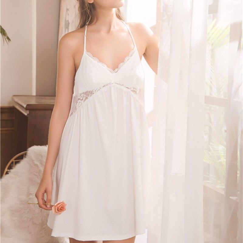 Spaghetti Strap Sleepwear Brief Pink White Mini Dress Sexy Nightgowns  Sleepshirts Nighties For Women Pregnancy Maternity ... 2f00eac53ecf