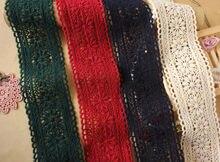 3 Jardas/Lote da Malha fio de Algodão tecido de renda bordado solúvel em água guarnição do laço bilateral saia roupas decoração 5.5 cm