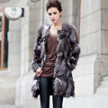 2016 Luxury Lady Genuine Natural Fox Fur Coat Jacket Winter Women Fur Outerwear Coats Trench Overcoat Clothing VK1502
