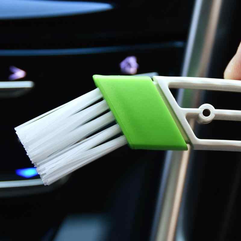 AOZBZ سيارة مزدوجة الجانب تنظيف فرشاة لوحة القيادة فرشاة لينة السيارات تكييف الهواء منفذ تنظيف فرشاة الغبار مزدوجة الجانب فرشاة