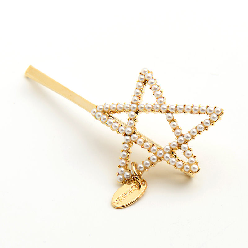 CHIMERA Fashion Star Hairpin Pearl Hair Clip Simple Side Barrette Headwear Hollow out Geometric Beaded Hairgrips for Women Girls