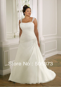 New A Line White/Ivory Beaded Detachable Shoulder Strap Plus Size Wedding Dress Bridal Gown Increase Code Custom