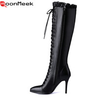 2017 New Arrival Sexy Thin High Heels Pointed Toe The Knee High Boots With PU Genuine